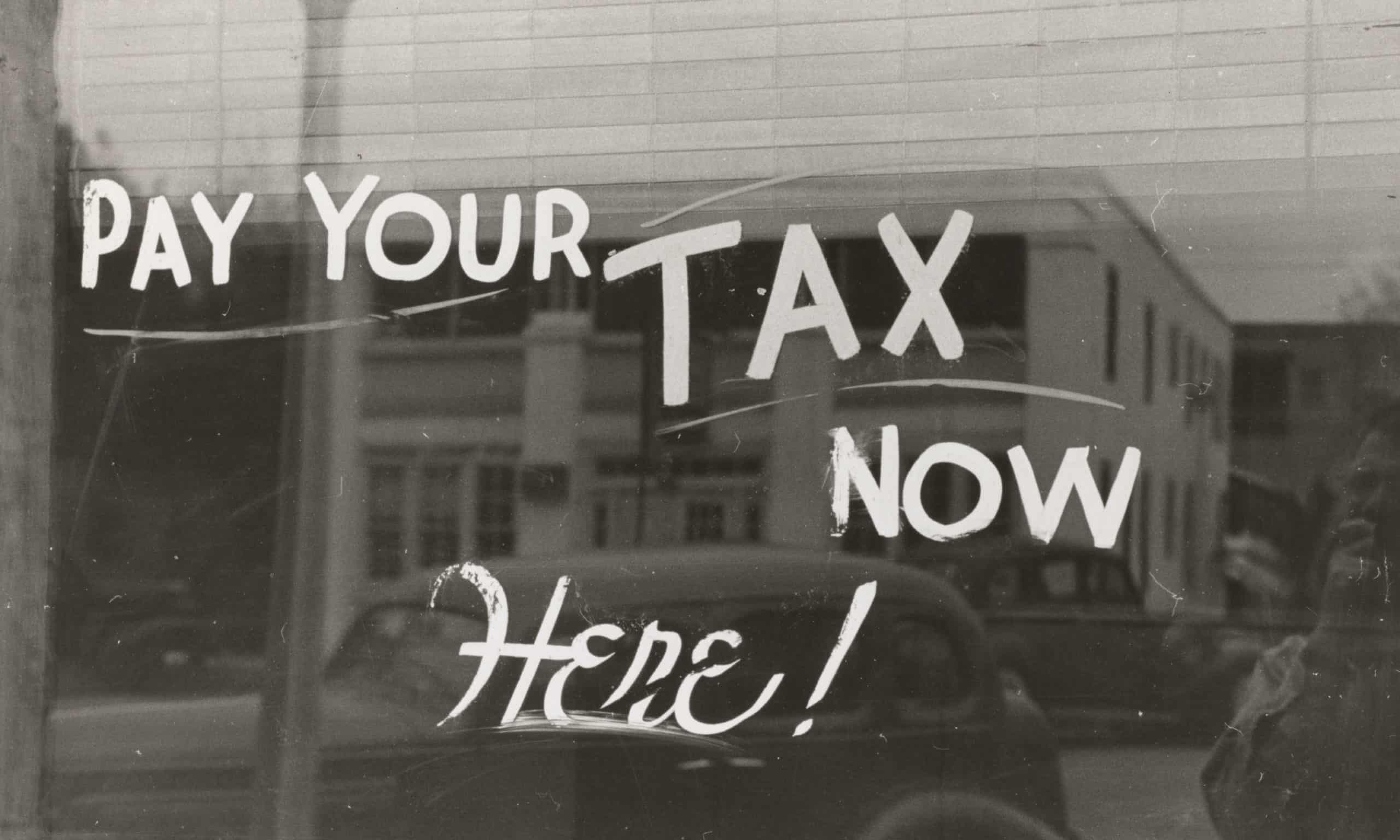 Old Time Tax Payment Location - Window