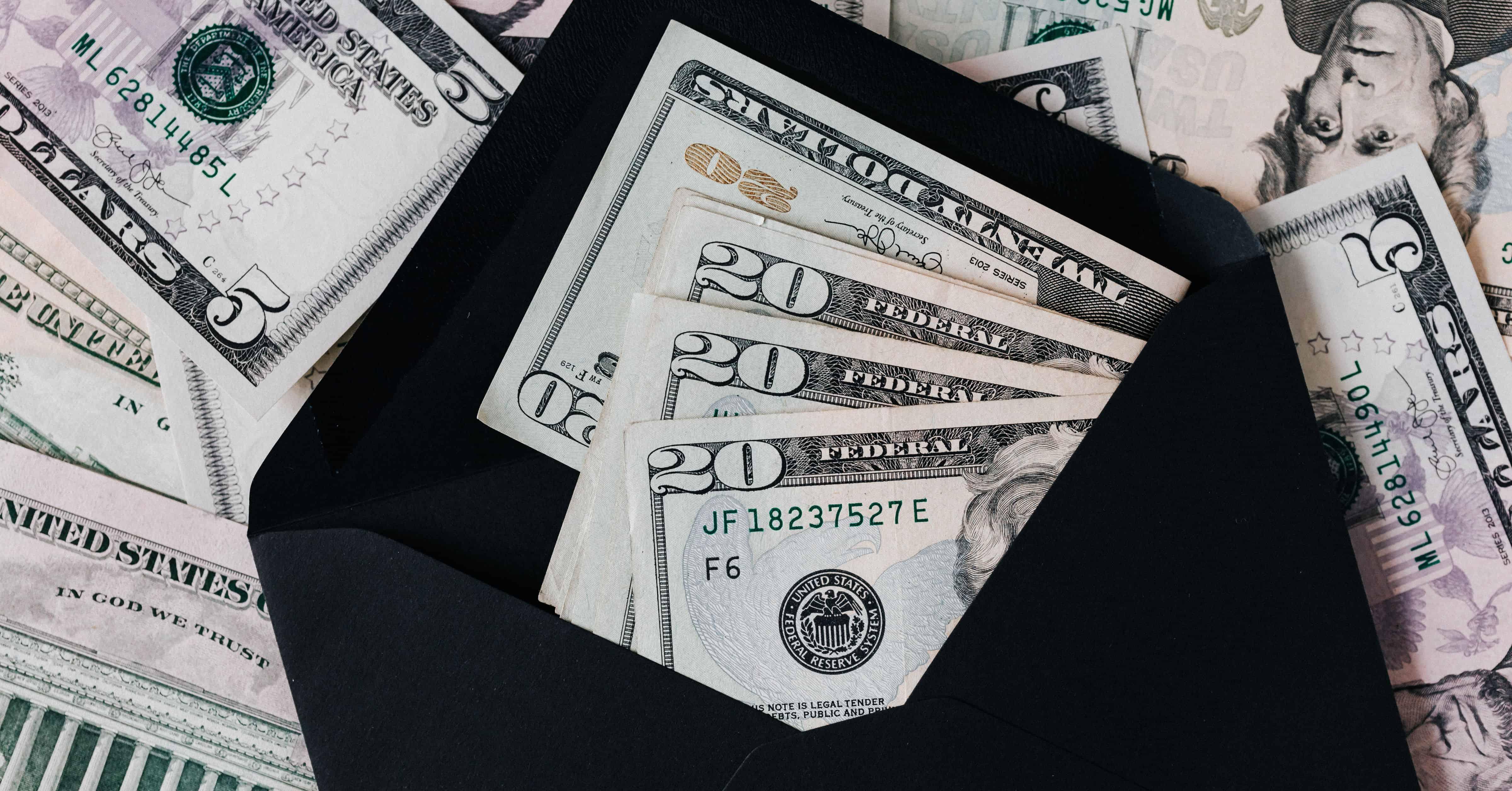 money in envelope for saving